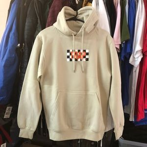 Other - Checkered Trap Hoodie - Beige w/ Orange